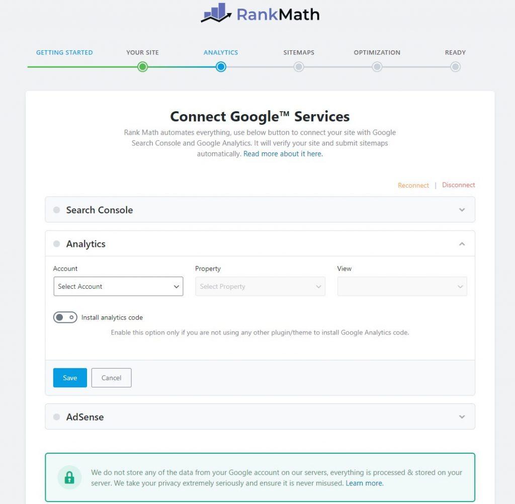 Screenshot of Rank Math connecting to Google Analytics