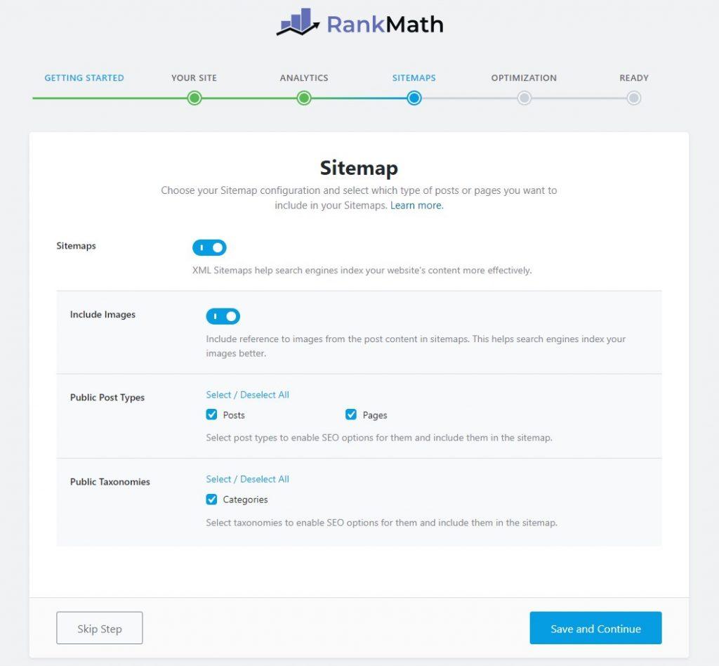 Screenshot of Rank Math set up wizard for adding Google Analytics to WordPress