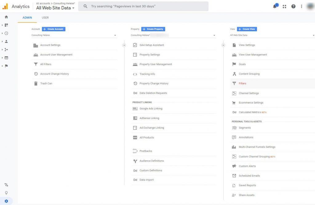 Screenshot of Google Analytics creating a filter