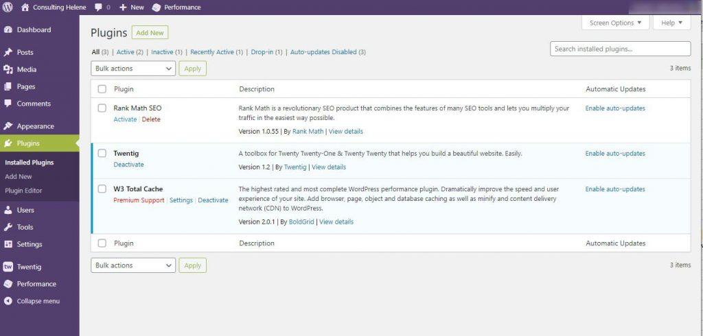 Screenshot of WordPress Plugin page